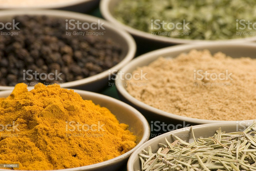 Spice bowls royalty-free stock photo