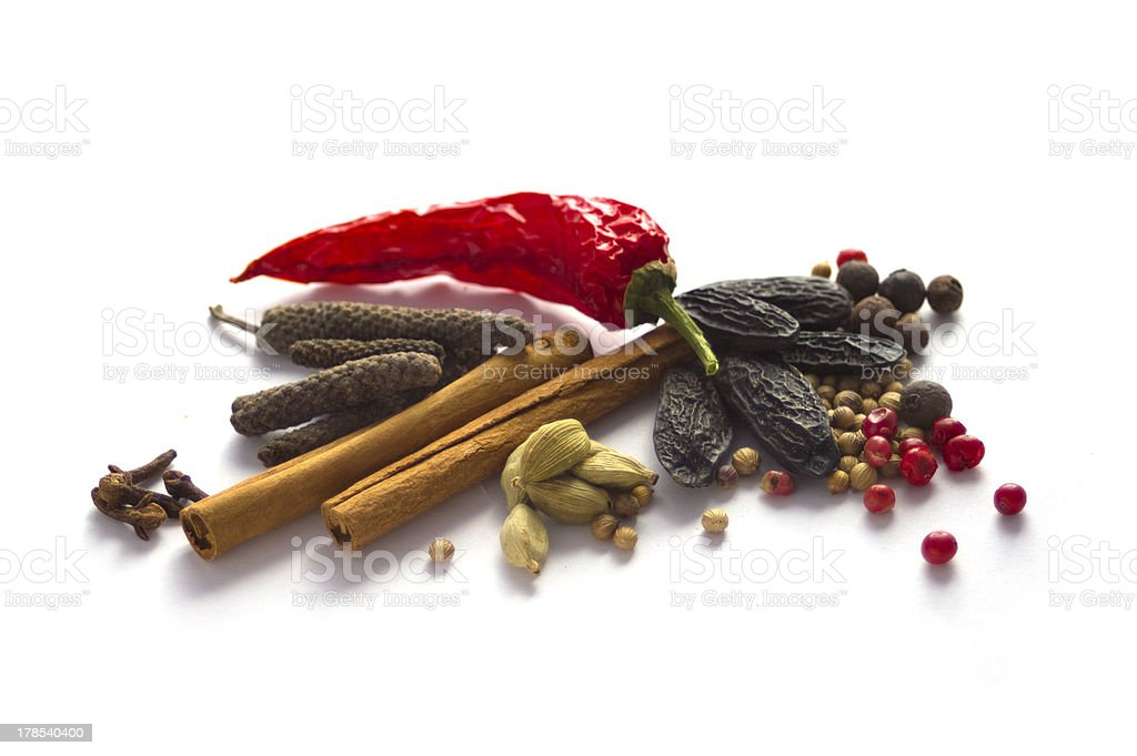 Spice collection isolated on white stock photo