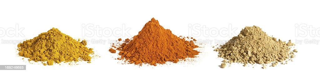 spice cone heaps isolated on white background stock photo