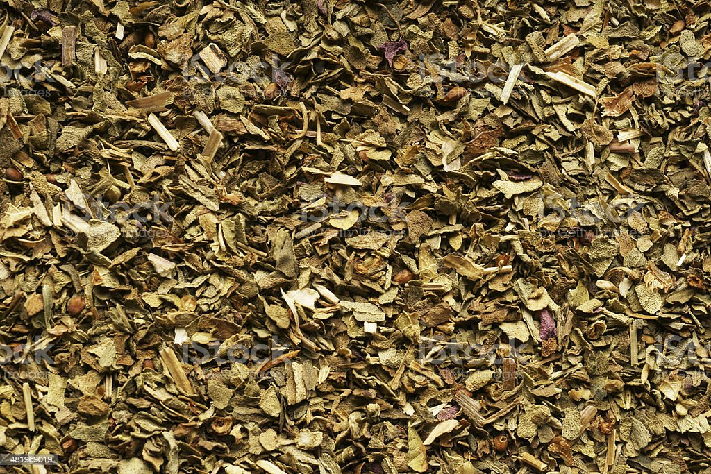 Spice dried Basil. Extra close up. Background. stock photo
