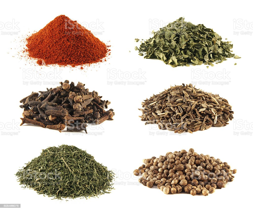 Spice heap collection isolated on white background stock photo