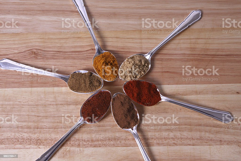 Spice In Spoons royalty-free stock photo