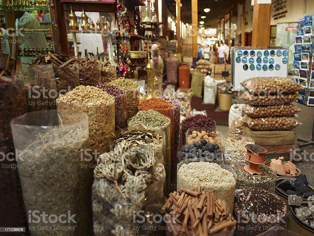 Spice market in old Dubai stock photo