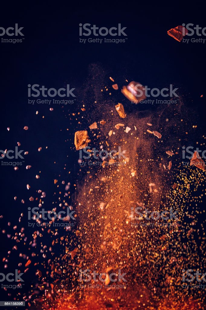 Spice Mix Food Explosion with Cocoa Powder and Chocolate royalty-free stock photo