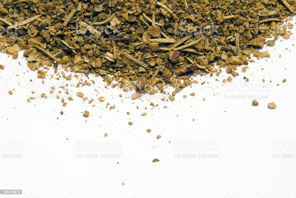 Spice mix of colorful spices blend on white background stock photo