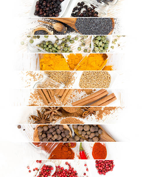 Spice Mix Stripes Top view of mixed colorful spice scattered on white wooden surface star anise on white stock pictures, royalty-free photos & images