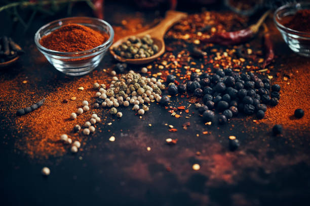 Spice Mix with Chili, Peppercorns and Juniper Berries stock photo