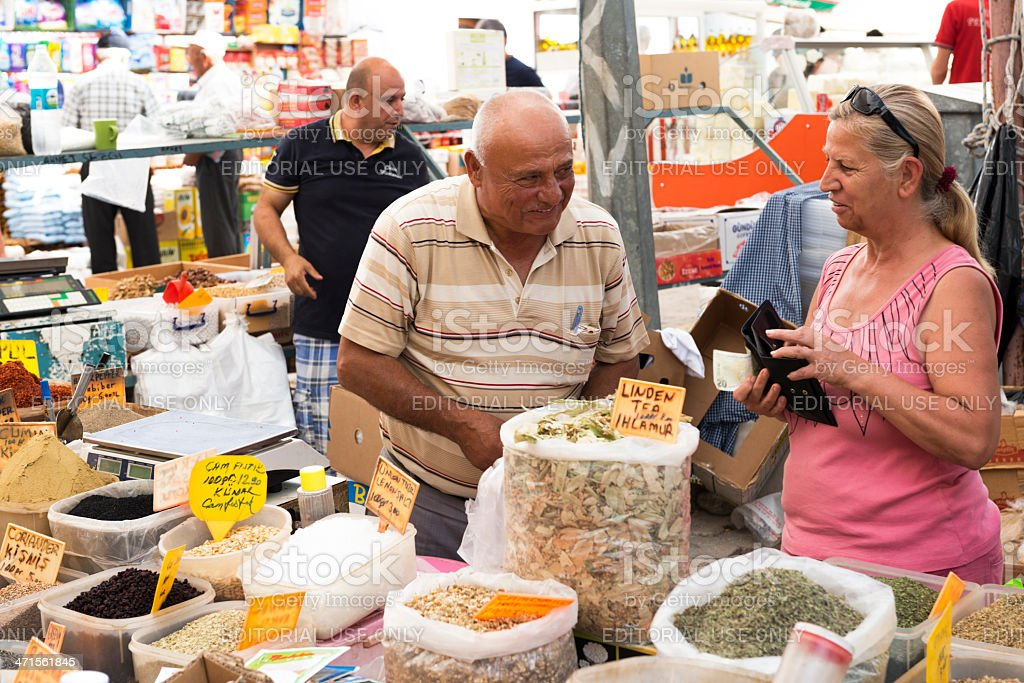 Spice seller on a farmer's market in Datca. royalty-free stock photo
