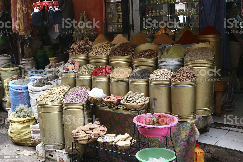 Spice shop in Marrakech royalty-free stock photo