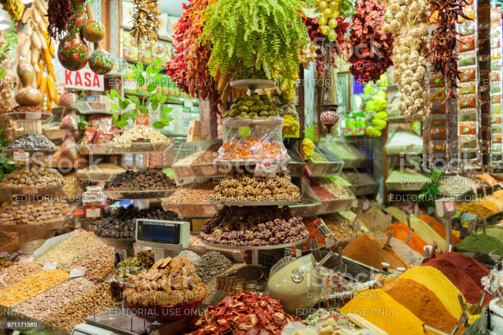 Spice stall in the Grand Bazaar in Istanbul, Turkey stock photo