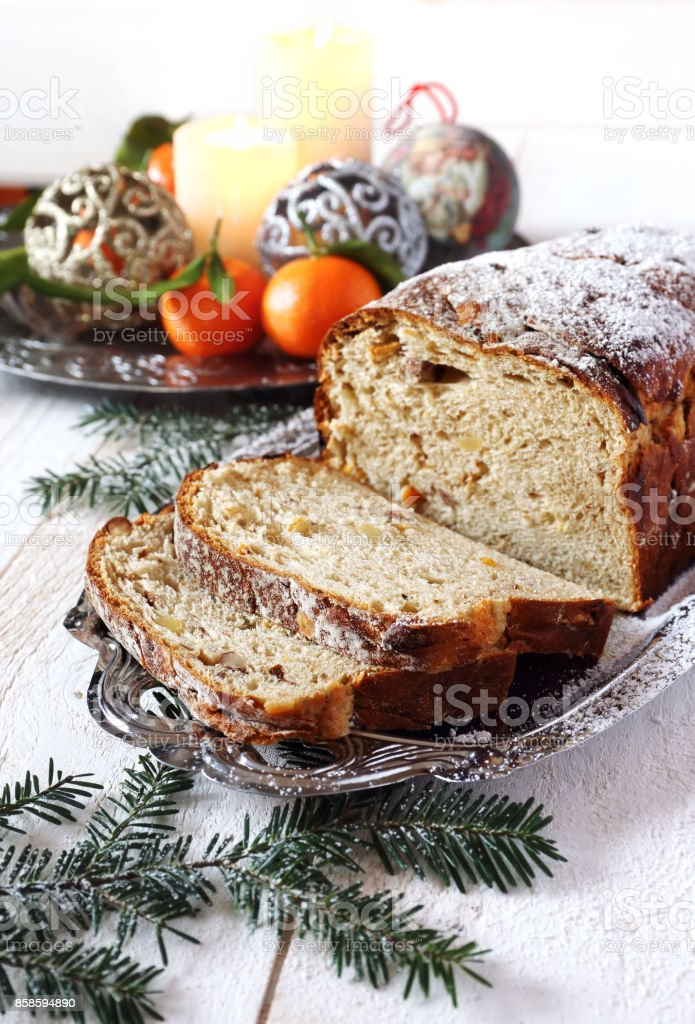 Spiced and nuts Christmas bread stock photo
