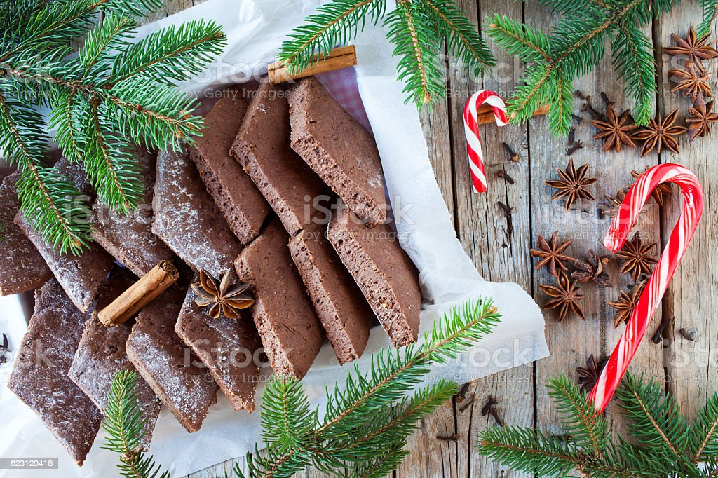 Spiced Biscuits And Candy Cane stock photo