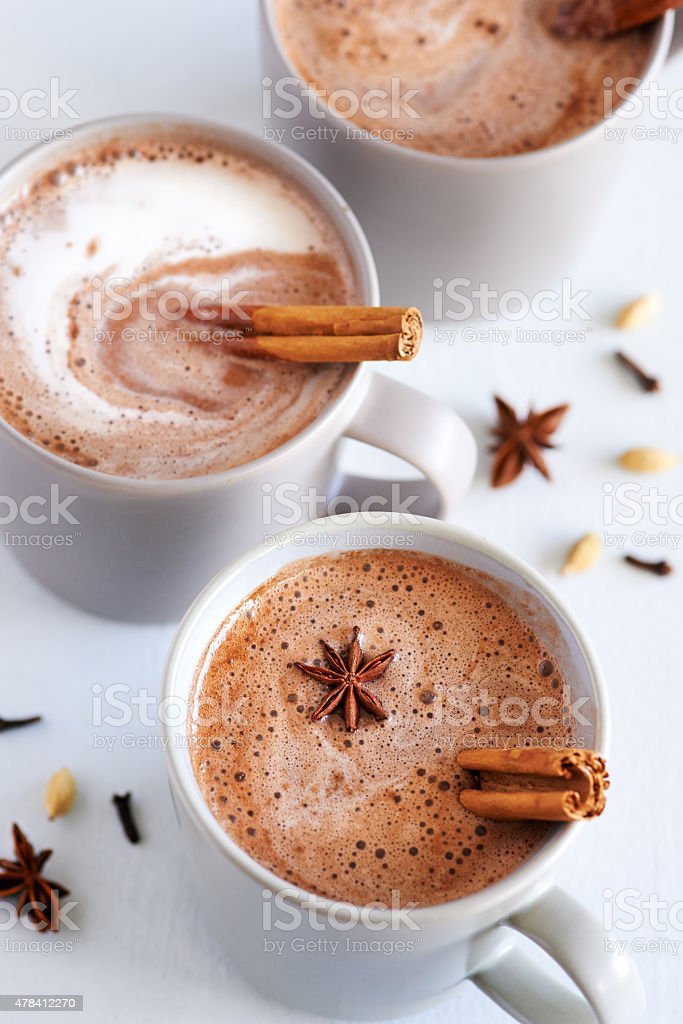 Spiced chai latte stock photo