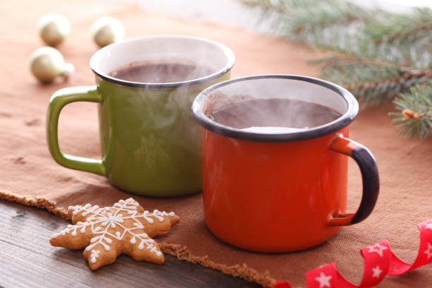 spiced christmas hot chocolate - hot chocolate stock photos and pictures