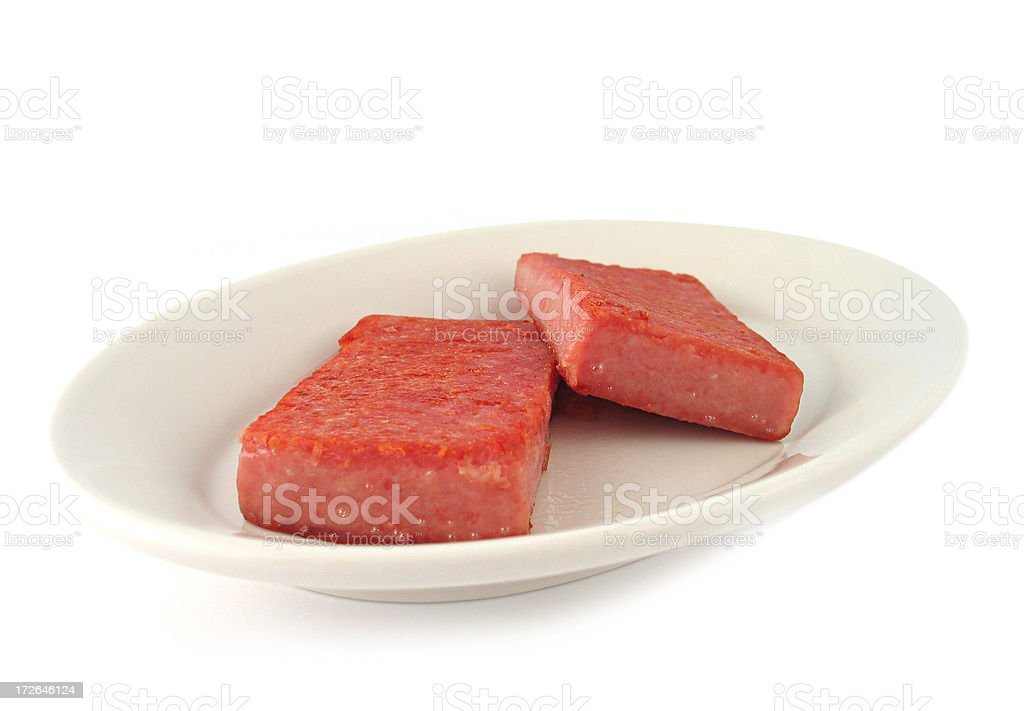 Spiced Ham on Plate stock photo