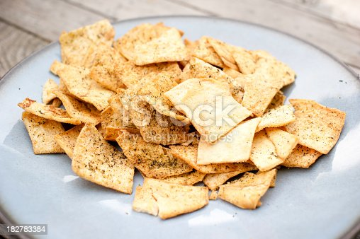 A plate of spice/herbed pita chips