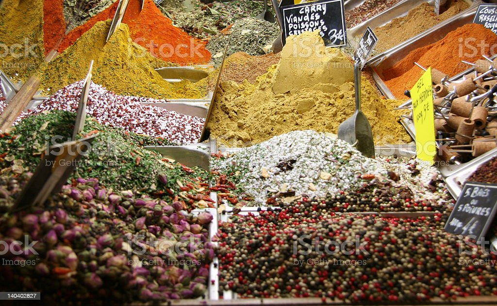 Spices and Corks at the Market, France royalty-free stock photo