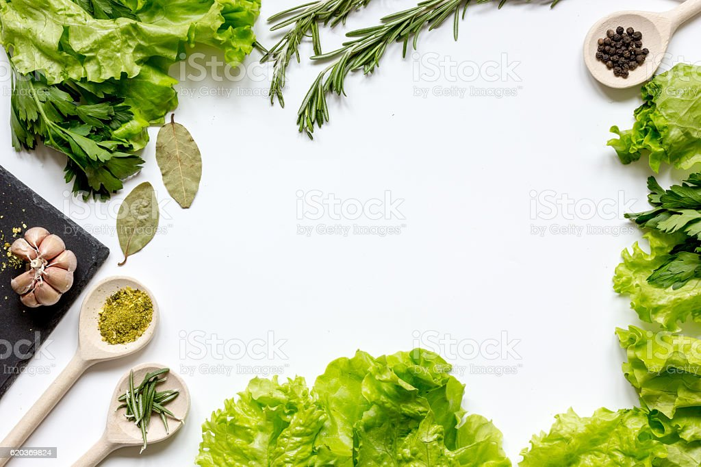spices and fresh herbs on white table top view zbiór zdjęć royalty-free