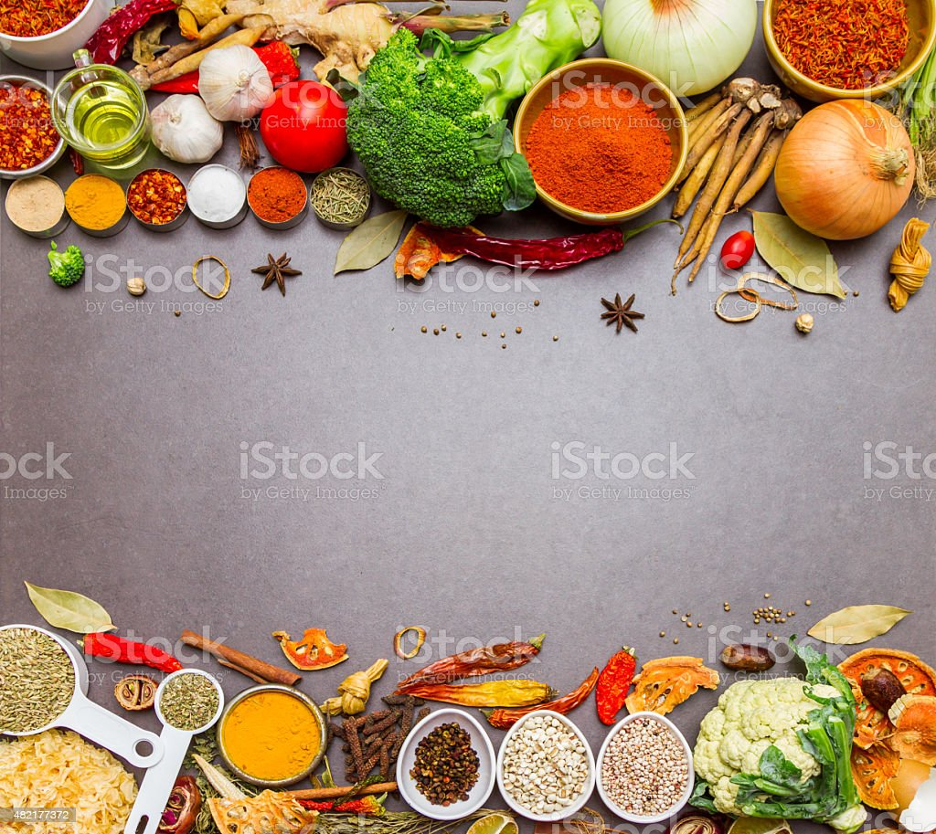 Spices and herb for cooking and background. stock photo