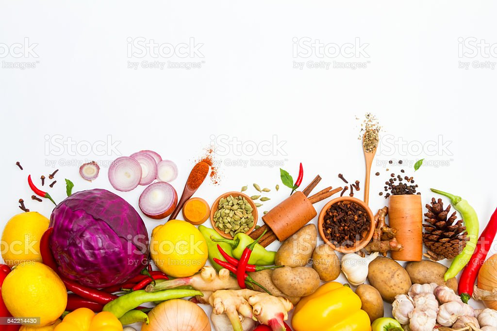 Spices and herb for cooking background and design. stock photo