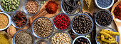 Spices and herbs. Colorful spices flat lay on wooden table, banner