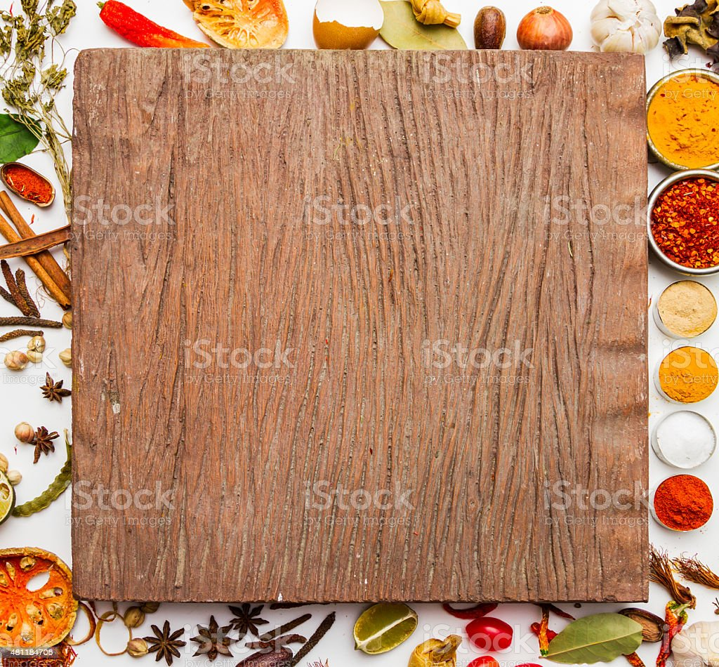 Spices and herbs , Food and cuisine ingredient on rock backgroun stock photo