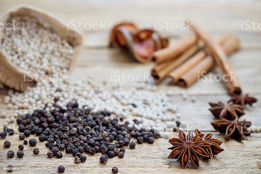 Spices and herbs for cooking background stock photo
