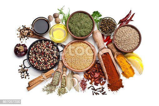 istock Spices and herbs isolated on white background 857057200