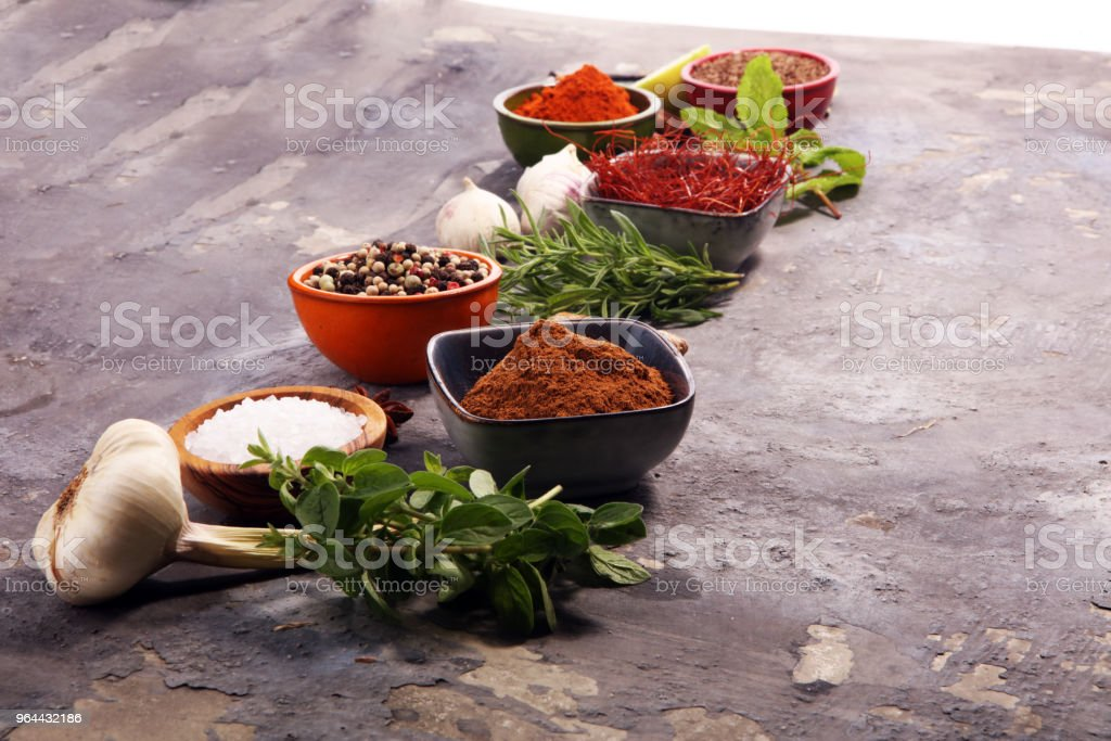 Spices and herbs on table. Food and cuisine ingredients. - Royalty-free Anise Stock Photo