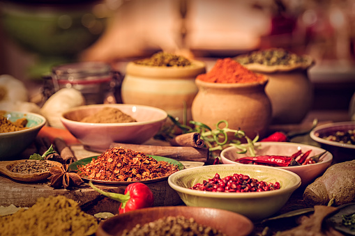 Spices And Herbs On Wooden Background Stock Photo - Download Image Now