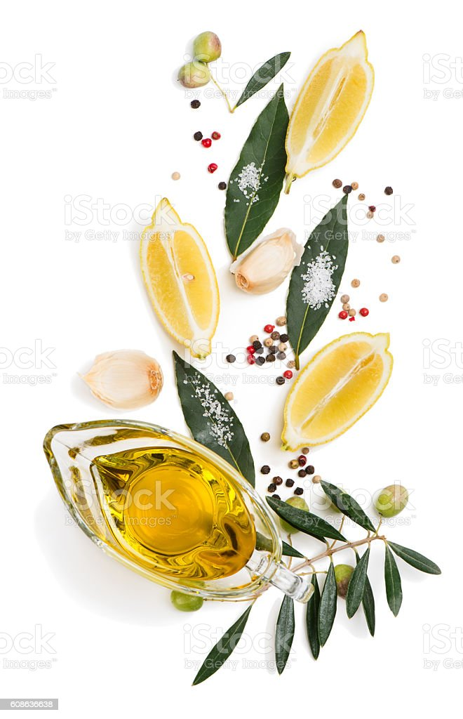 Spices and lemon, above view. stock photo