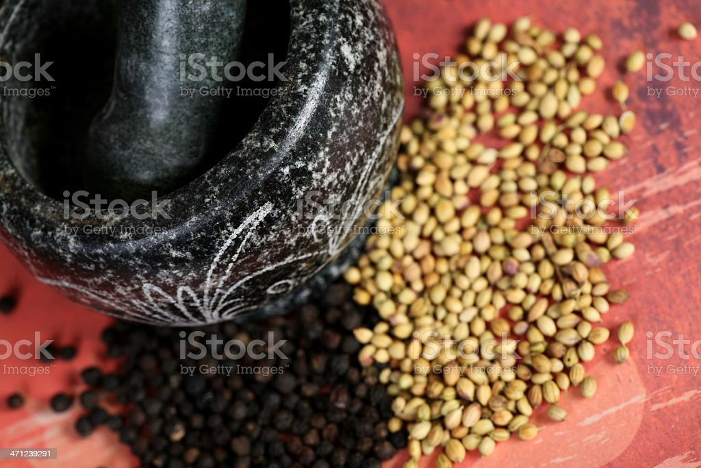 Spices and mortar royalty-free stock photo