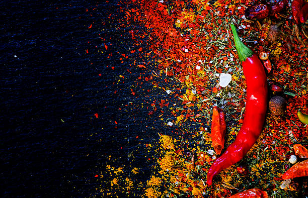 spices and spicy chili peppers - cuisine indienne photos et images de collection