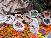 Spices and tangerines at Civita di Bagnoregio (Italy)