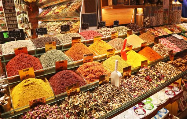 spices and teas at the egyptian market - Grand Bazaar Istanbul Turkey stock photo