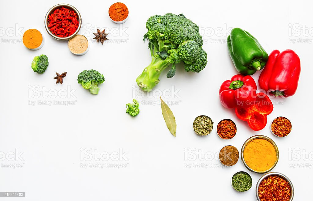 Spices and vegetables for cooking and health. stock photo