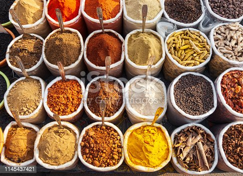 Bags with spices at the market in Goa in India