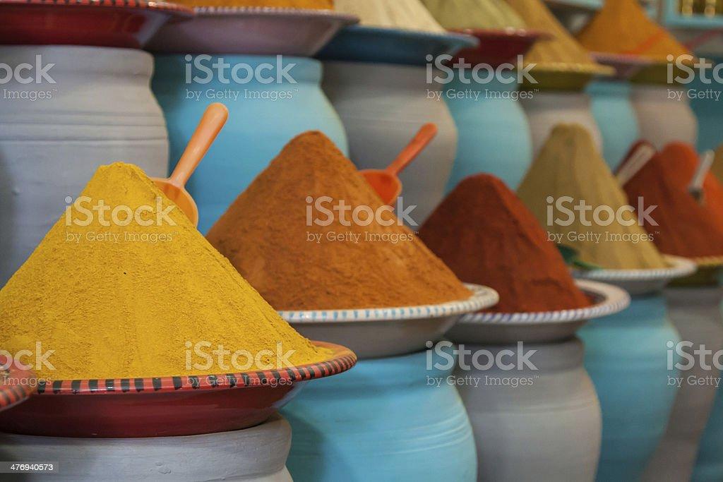 Spices at the market Marrakech, Morocco stock photo