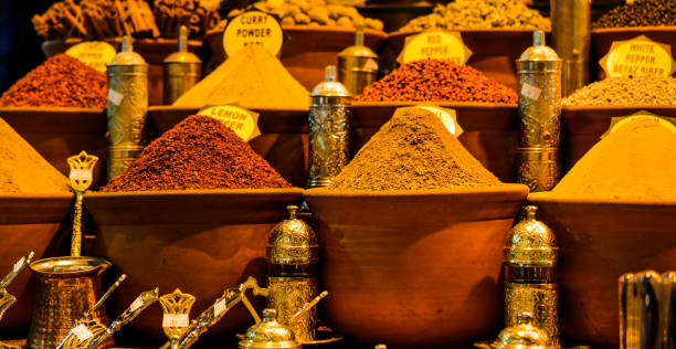 Spices at the Spice Market in Istanbul stock photo