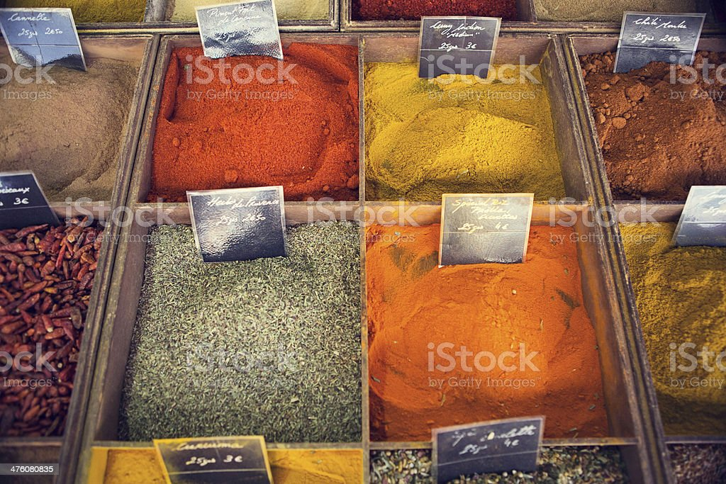 Spices at Victor Hugo Marché royalty-free stock photo