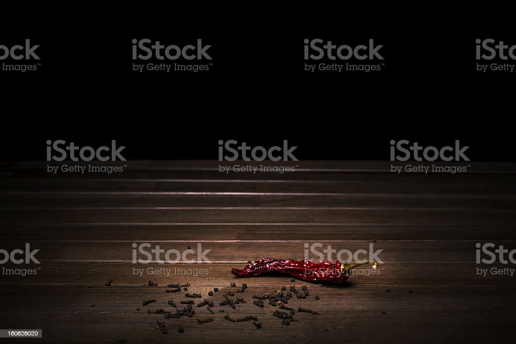 spices carnation and black red hot pepper royalty-free stock photo