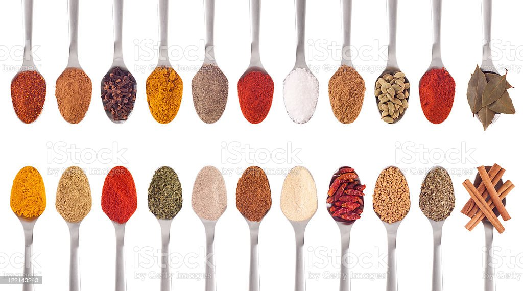Spices collection on spoons royalty-free stock photo