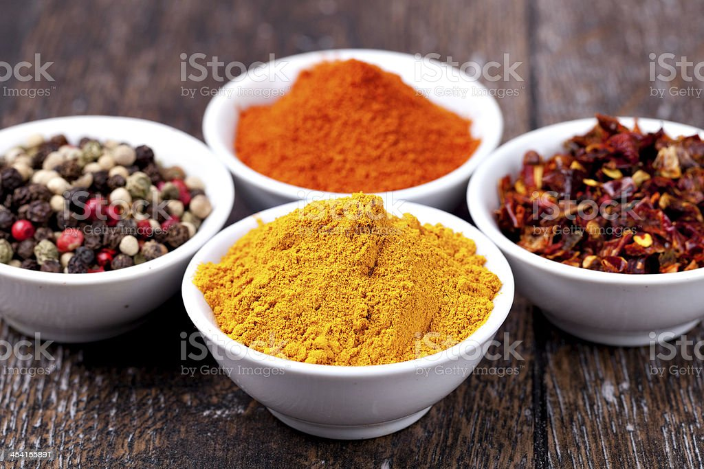 Spices Curry, Peppers Mix and paprika royalty-free stock photo
