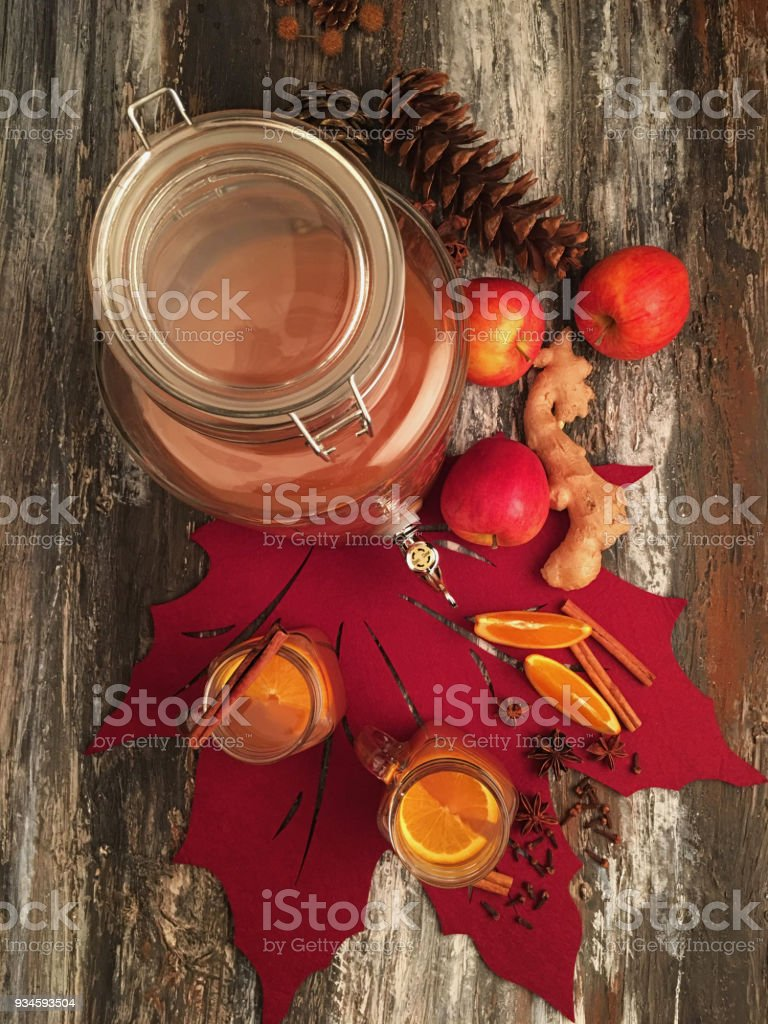 Spices drinks and fruits stock photo