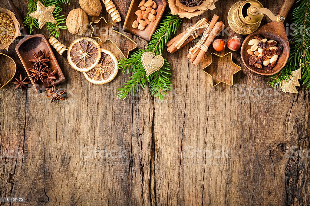 Spices for Christmas cakes stock photo