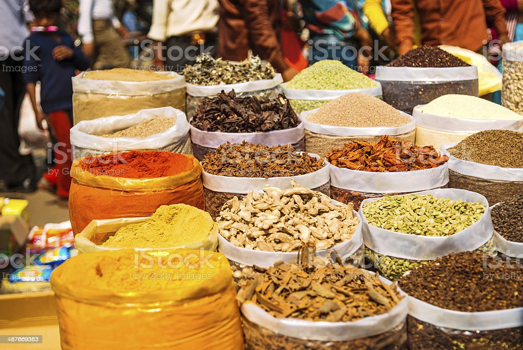 Spices for sale at Delhi Market, India stock photo