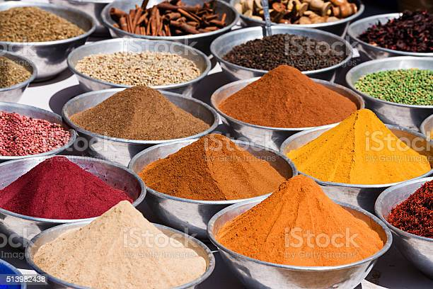 Spices For Sale On Local Market Stock Photo - Download Image Now