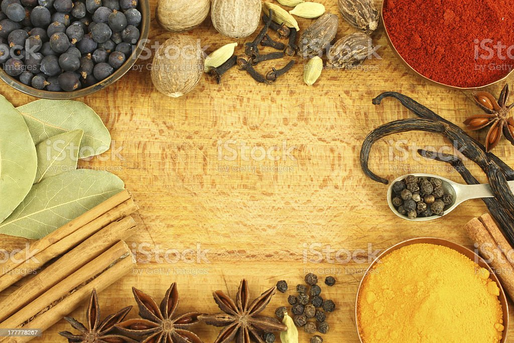 Spices frame royalty-free stock photo