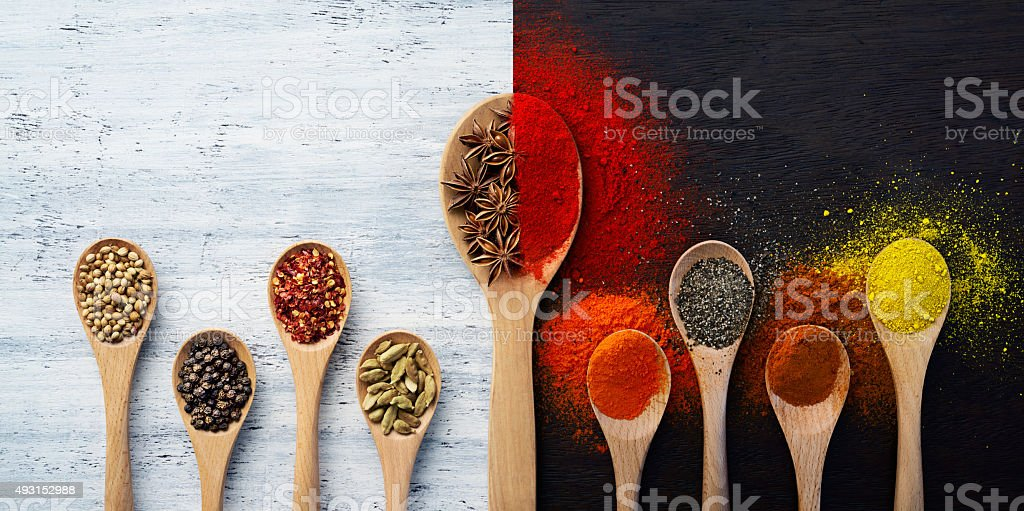 Spices, Herbs, Powders and Ground Spices stock photo
