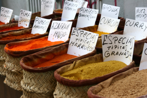 Spices In Andalousia Shop Spain Stock Photo - Download Image Now